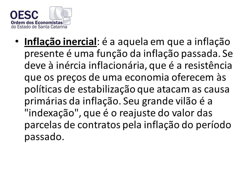 • Inflação inercial: é a aquela em que a inflação presente é uma função da inflação passada.