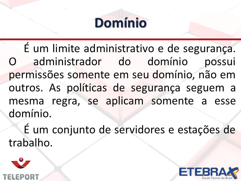 Domínio É um limite administrativo e de segurança.