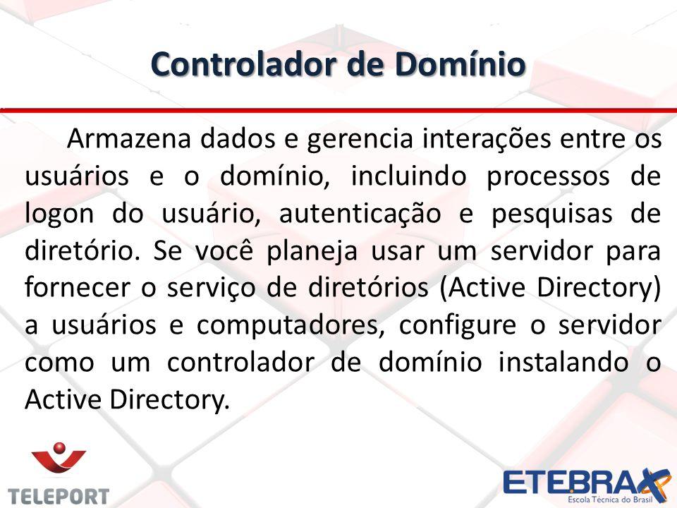 Controlador de Domínio Armazena dados e gerencia interações entre os usuários e o domínio, incluindo processos de logon do usuário, autenticação e pesquisas de diretório.