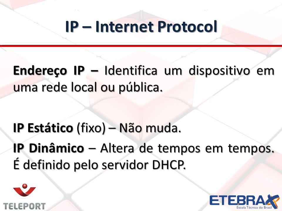 IP – Internet Protocol Endereço IP – Identifica um dispositivo em uma rede local ou pública.