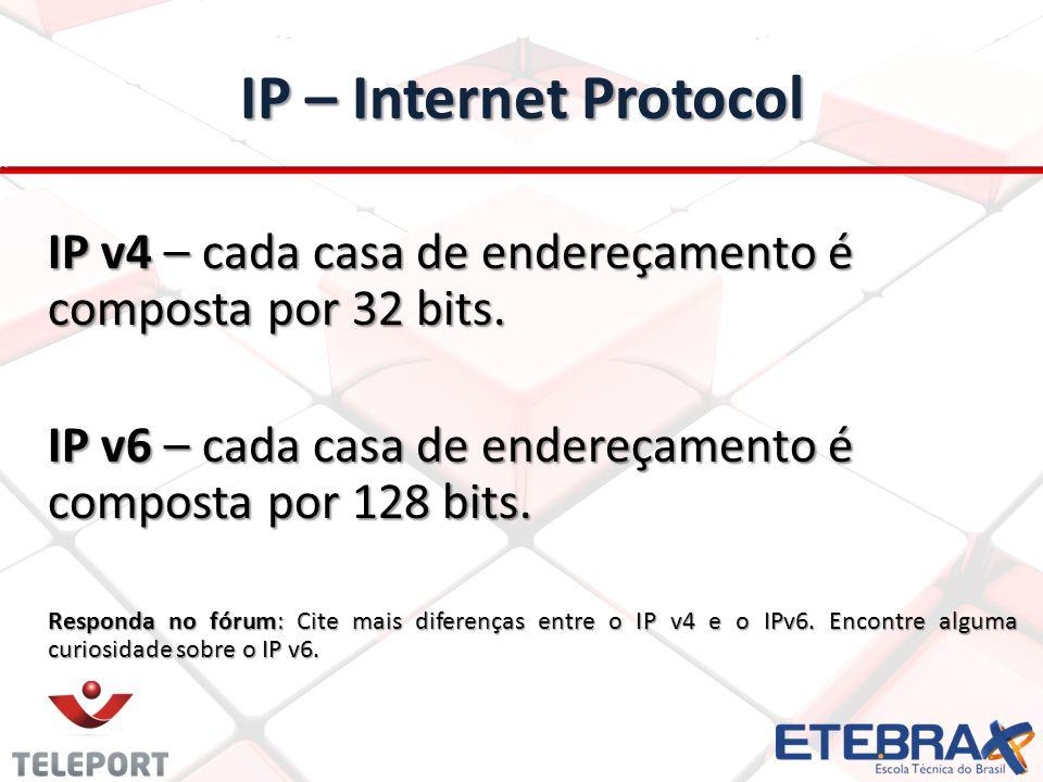 IP – Internet Protocol IP v4 – cada casa de endereçamento é composta por 32 bits.