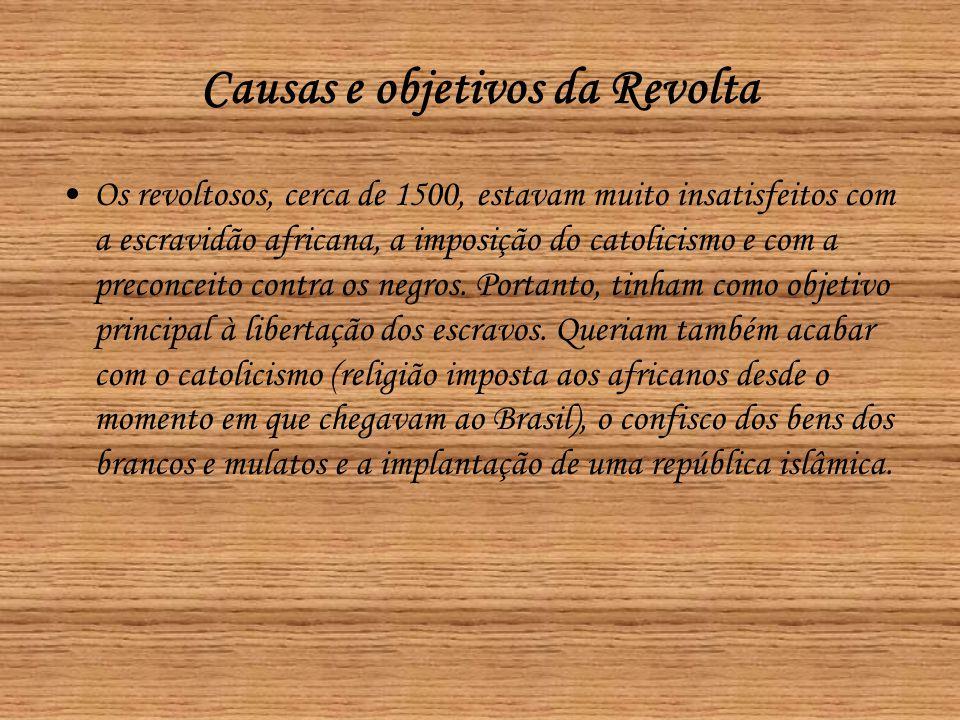 Causas e objetivos da Revolta •Os revoltosos, cerca de 1500, estavam muito insatisfeitos com a escravidão africana, a imposição do catolicismo e com a