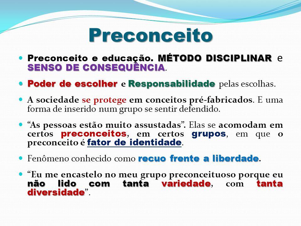 Preconceito MÉTODO DISCIPLINAR SENSO DE CONSEQUÊNCIA  Preconceito e educação. MÉTODO DISCIPLINAR e SENSO DE CONSEQUÊNCIA.  Poder de escolher Respons