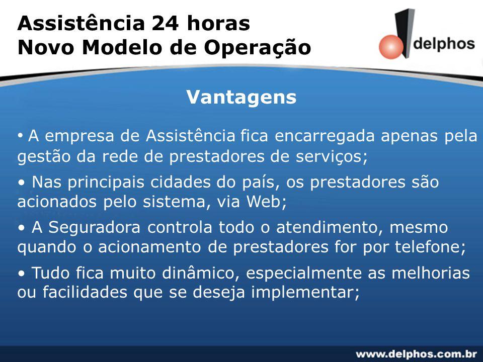 Assistência 24 horas Novo Modelo de Operação Vantagens • A empresa de Assistência fica encarregada apenas pela gestão da rede de prestadores de serviç