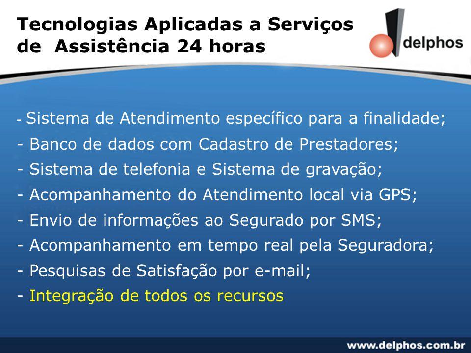 Tecnologias Aplicadas a Serviços de Assistência 24 horas - Sistema de Atendimento específico para a finalidade; - Banco de dados com Cadastro de Prest