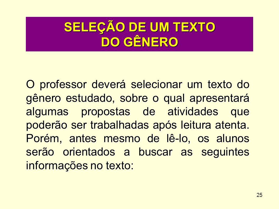 25 O professor deverá selecionar um texto do gênero estudado, sobre o qual apresentará algumas propostas de atividades que poderão ser trabalhadas apó