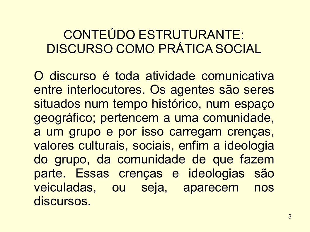 3 CONTEÚDO ESTRUTURANTE: DISCURSO COMO PRÁTICA SOCIAL O discurso é toda atividade comunicativa entre interlocutores. Os agentes são seres situados num