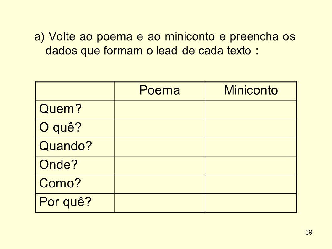 39 a) Volte ao poema e ao miniconto e preencha os dados que formam o lead de cada texto : PoemaMiniconto Quem? O quê? Quando? Onde? Como? Por quê?