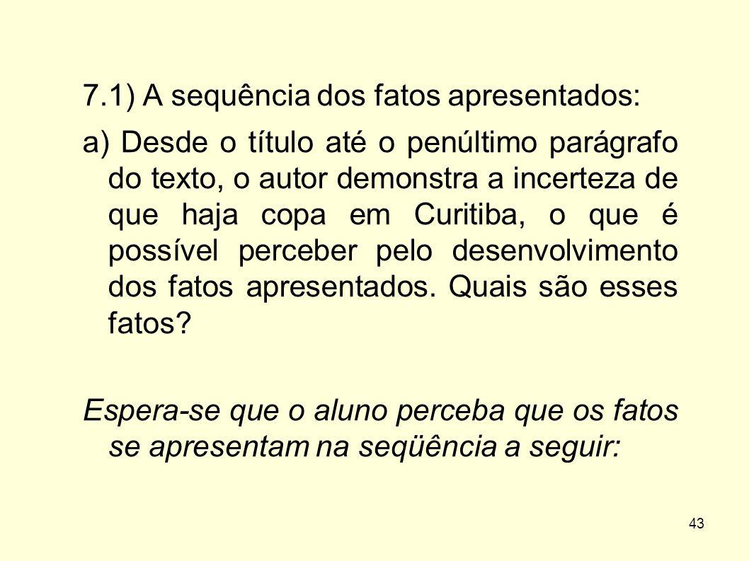 43 7.1) A sequência dos fatos apresentados: a) Desde o título até o penúltimo parágrafo do texto, o autor demonstra a incerteza de que haja copa em Cu