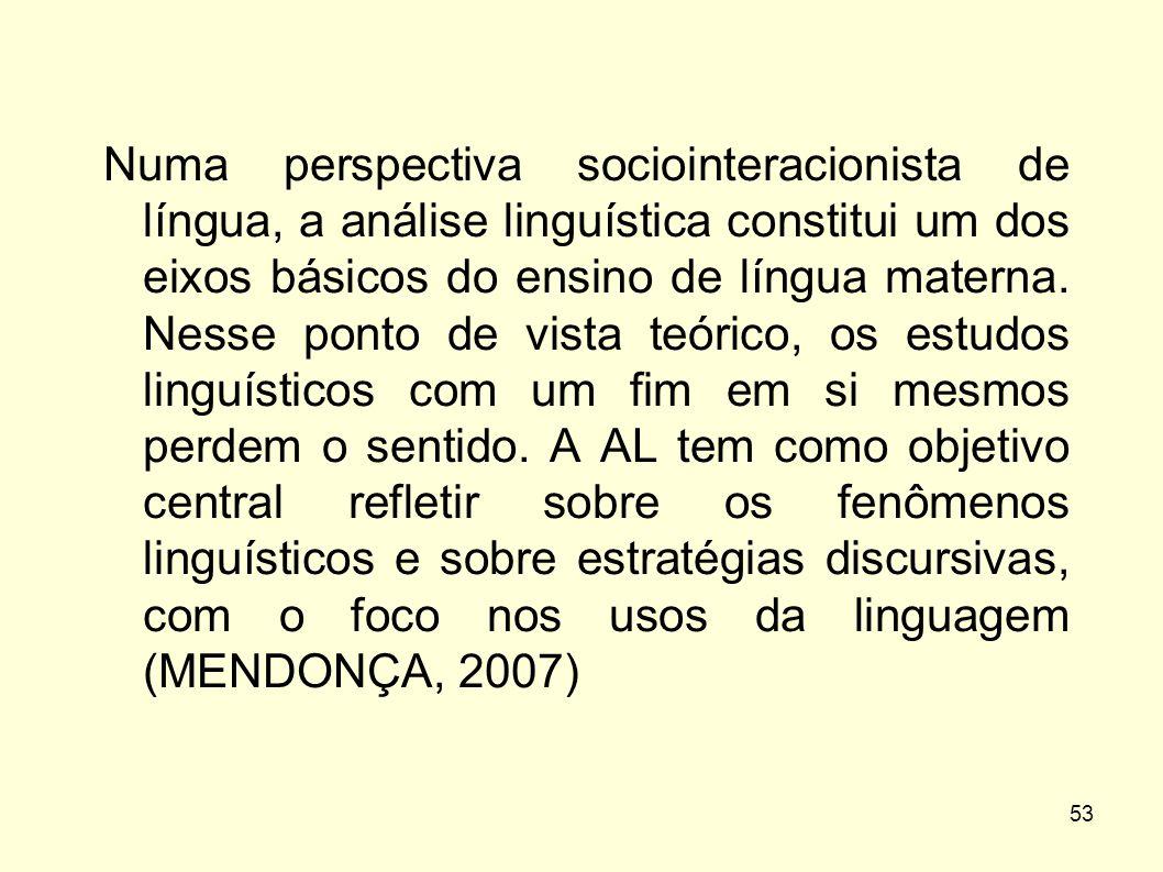 53 Numa perspectiva sociointeracionista de língua, a análise linguística constitui um dos eixos básicos do ensino de língua materna. Nesse ponto de vi