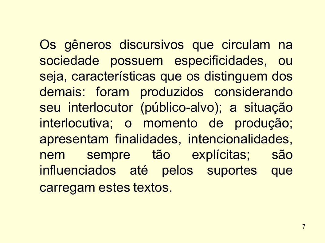 7 Os gêneros discursivos que circulam na sociedade possuem especificidades, ou seja, características que os distinguem dos demais: foram produzidos co