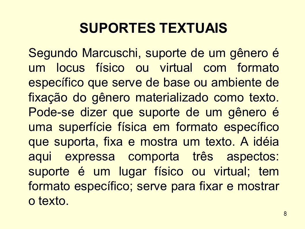 8 SUPORTES TEXTUAIS Segundo Marcuschi, suporte de um gênero é um locus físico ou virtual com formato específico que serve de base ou ambiente de fixaç