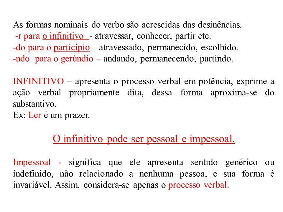 As formas nominais do verbo são acrescidas das desinências. -r para o infinitivo - atravessar, conhecer, partir etc. -do para o particípio – atravessa