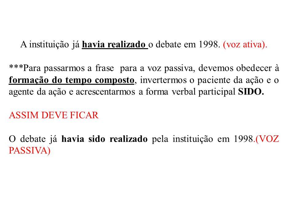 A instituição já havia realizado o debate em 1998. (voz ativa). ***Para passarmos a frase para a voz passiva, devemos obedecer à formação do tempo com