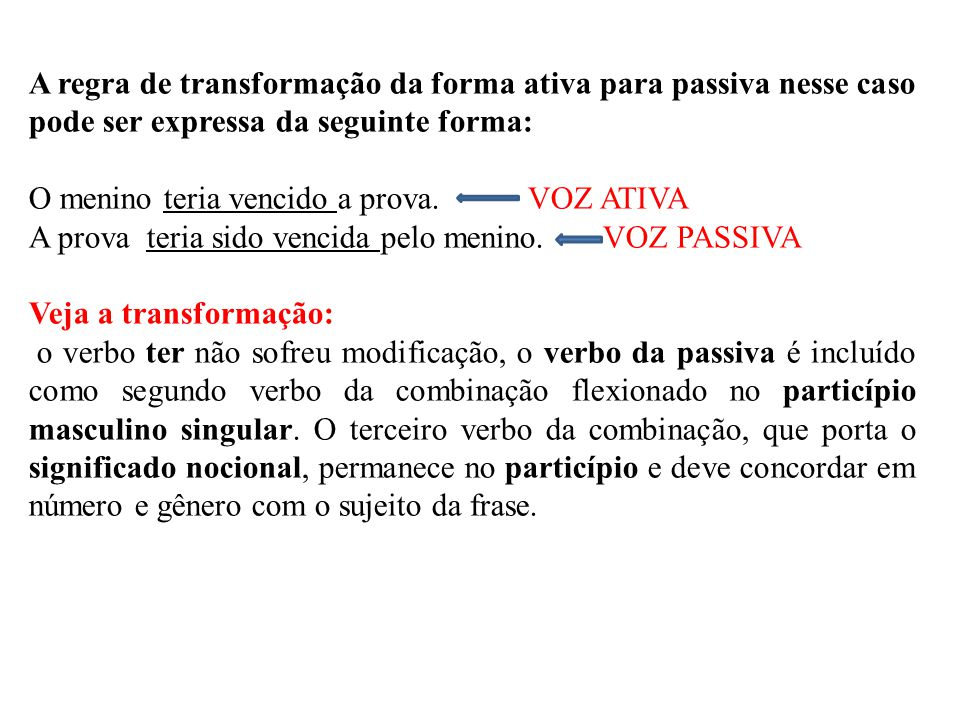 A regra de transformação da forma ativa para passiva nesse caso pode ser expressa da seguinte forma: O menino teria vencido a prova. VOZ ATIVA A prova