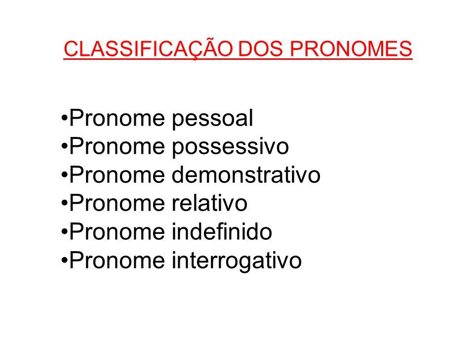 CLASSIFICAÇÃO DOS PRONOMES •Pronome pessoal •Pronome possessivo •Pronome demonstrativo •Pronome relativo •Pronome indefinido •Pronome interrogativo