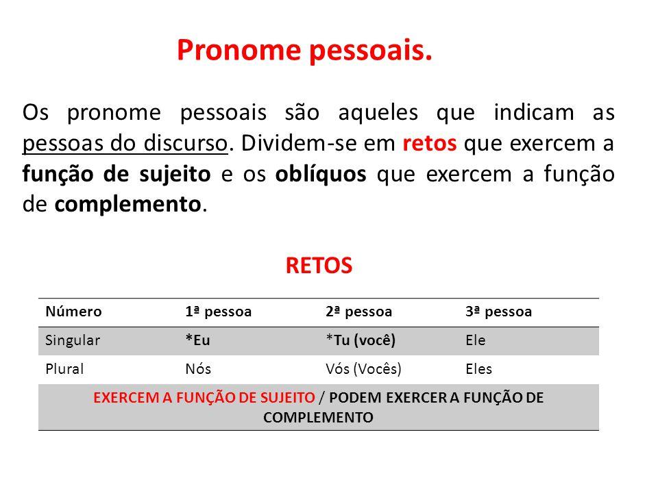Pronome pessoais. Os pronome pessoais são aqueles que indicam as pessoas do discurso. Dividem-se em retos que exercem a função de sujeito e os oblíquo