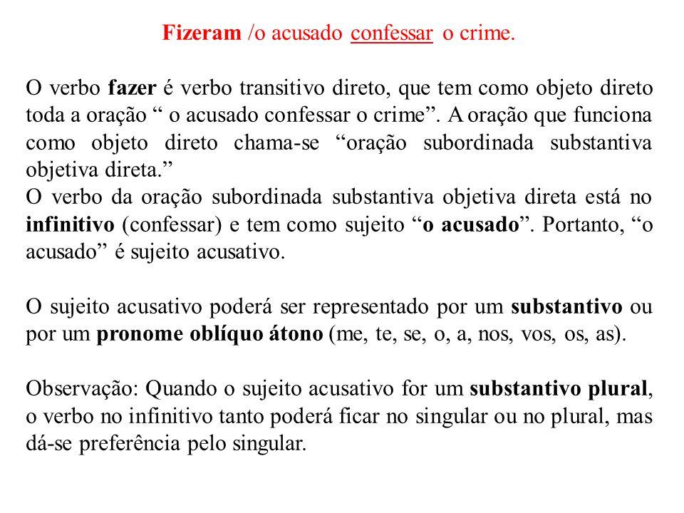 """Fizeram /o acusado confessar o crime. O verbo fazer é verbo transitivo direto, que tem como objeto direto toda a oração """" o acusado confessar o crime"""""""
