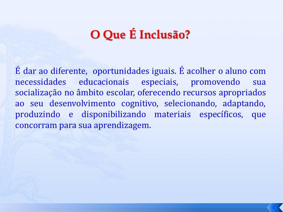O Que É Inclusão.É dar ao diferente, oportunidades iguais.