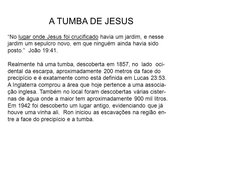 """A TUMBA DE JESUS """"No lugar onde Jesus foi crucificado havia um jardim, e nesse jardim um sepulcro novo, em que ninguém ainda havia sido posto."""" João 1"""