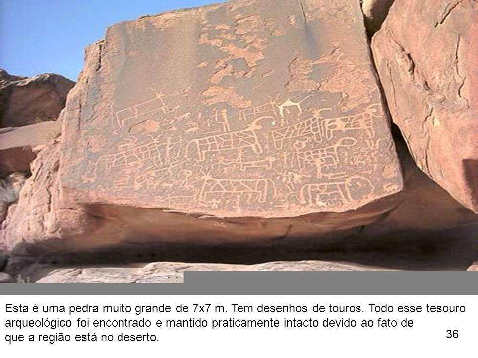 Esta é uma pedra muito grande de 7x7 m. Tem desenhos de touros. Todo esse tesouro arqueológico foi encontrado e mantido praticamente intacto devido ao