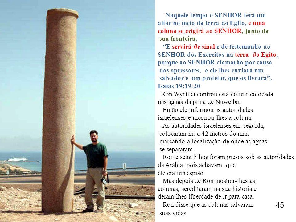 """""""Naquele tempo o SENHOR terá um altar no meio da terra do Egito, e uma coluna se erigirá ao SENHOR, junto da sua fronteira. """"E servirá de sinal e de t"""
