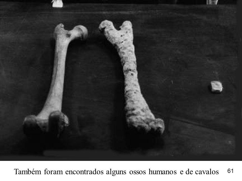 Também foram encontrados alguns ossos humanos e de cavalos 61