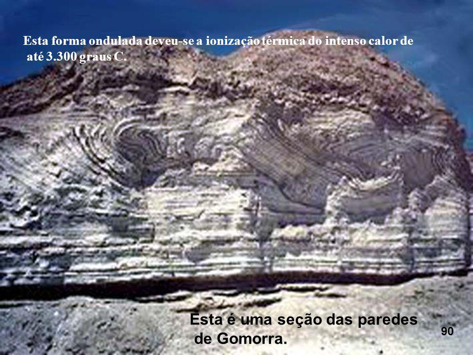 Esta forma ondulada deveu-se a ionização térmica do intenso calor de até 3.300 graus C. Esta é uma seção das paredes de Gomorra. 90