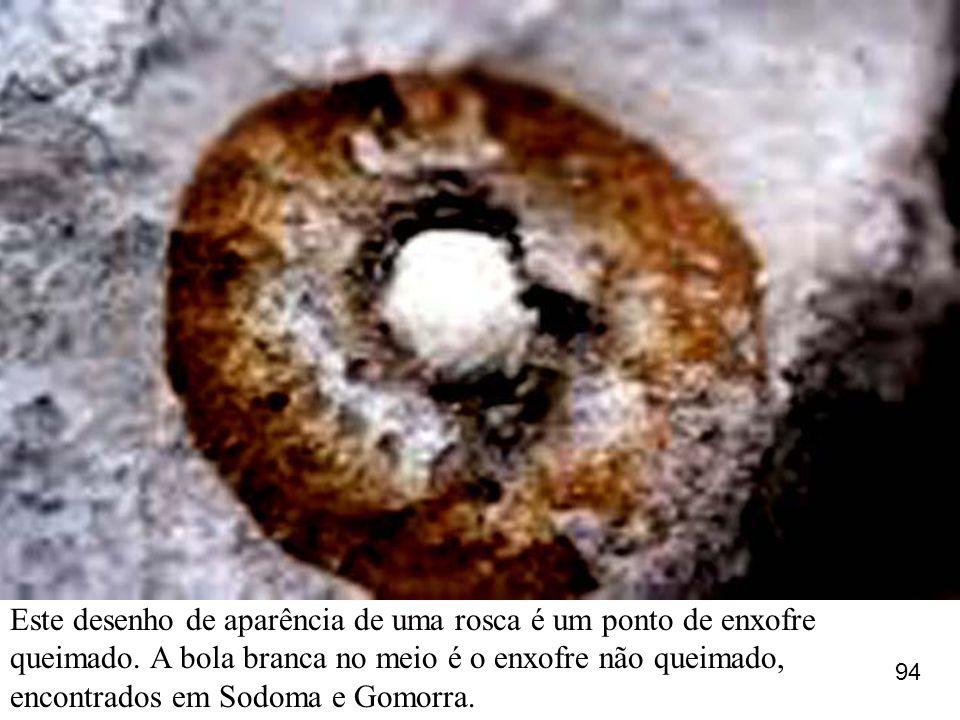 Este desenho de aparência de uma rosca é um ponto de enxofre queimado. A bola branca no meio é o enxofre não queimado, encontrados em Sodoma e Gomorra