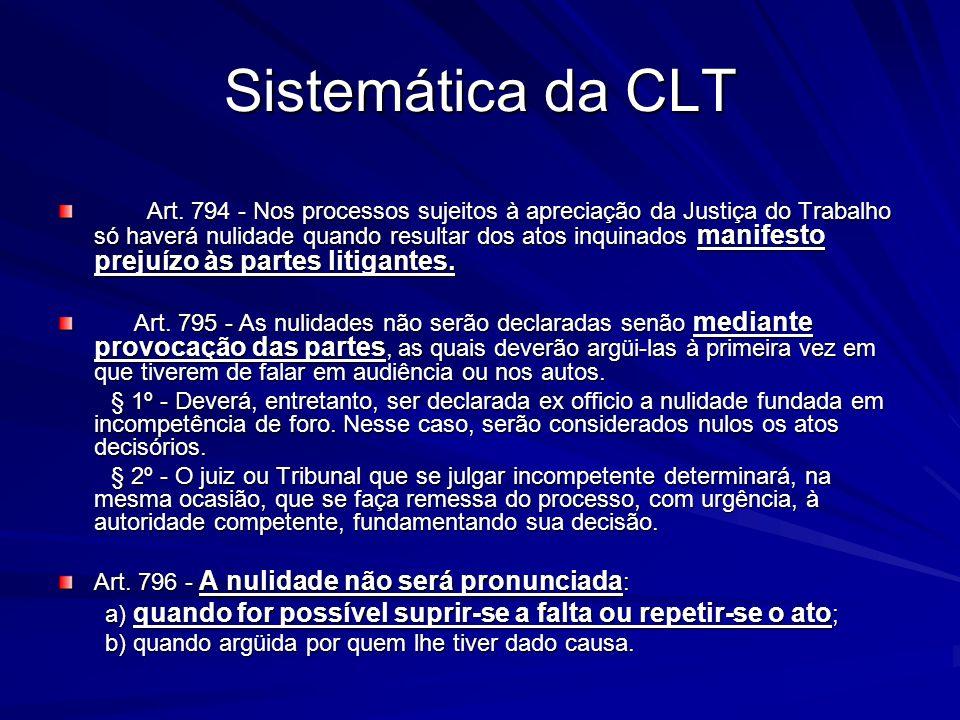Sistemática da CLT Art. 794 - Nos processos sujeitos à apreciação da Justiça do Trabalho só haverá nulidade quando resultar dos atos inquinados manife