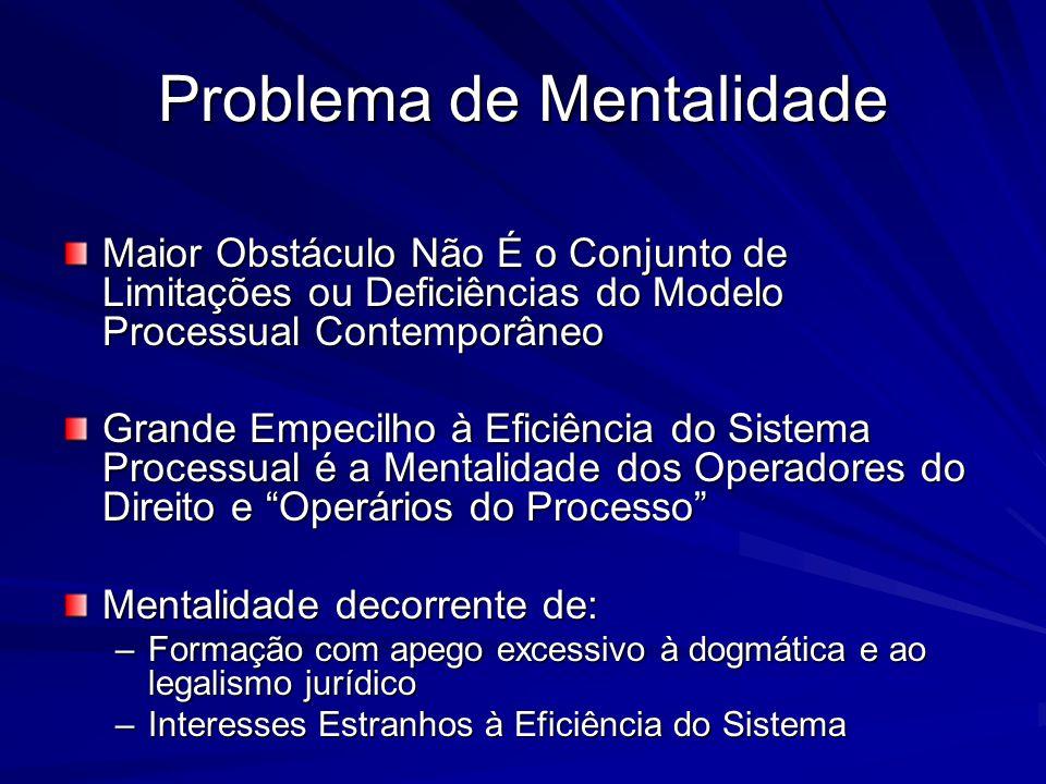 Problema de Mentalidade Maior Obstáculo Não É o Conjunto de Limitações ou Deficiências do Modelo Processual Contemporâneo Grande Empecilho à Eficiênci