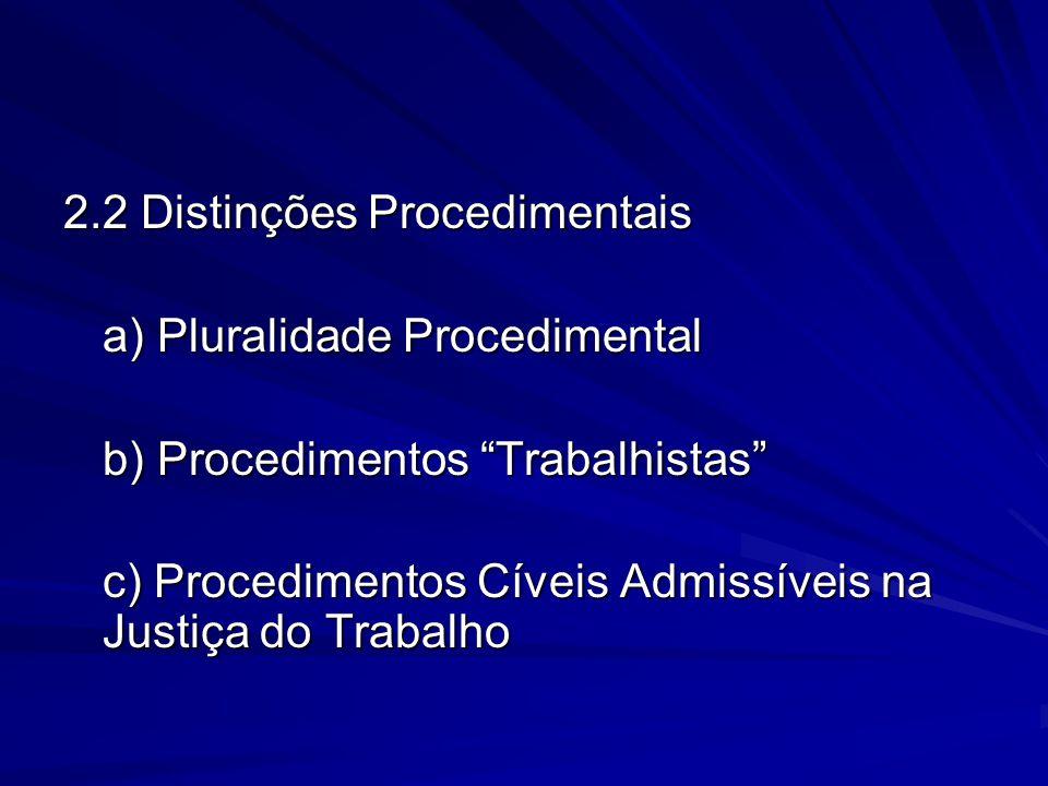 """2.2 Distinções Procedimentais a) Pluralidade Procedimental b) Procedimentos """"Trabalhistas"""" c) Procedimentos Cíveis Admissíveis na Justiça do Trabalho"""