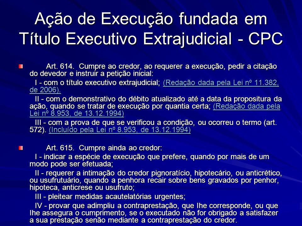 Ação de Execução fundada em Título Executivo Extrajudicial - CPC Art. 614. Cumpre ao credor, ao requerer a execução, pedir a citação do devedor e inst