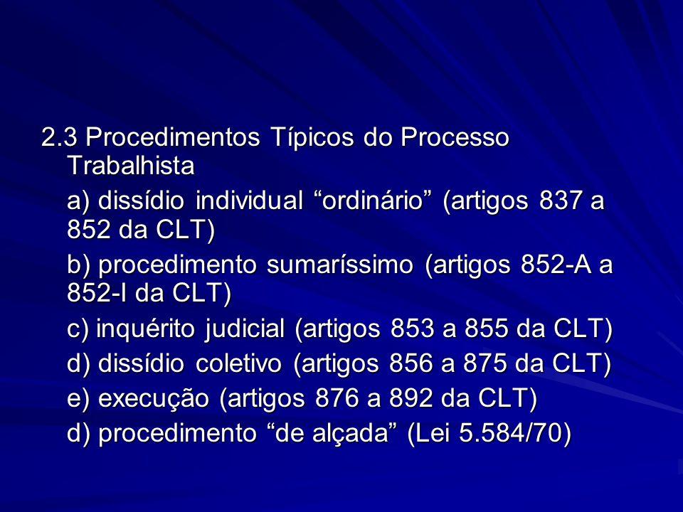 """2.3 Procedimentos Típicos do Processo Trabalhista a) dissídio individual """"ordinário"""" (artigos 837 a 852 da CLT) b) procedimento sumaríssimo (artigos 8"""