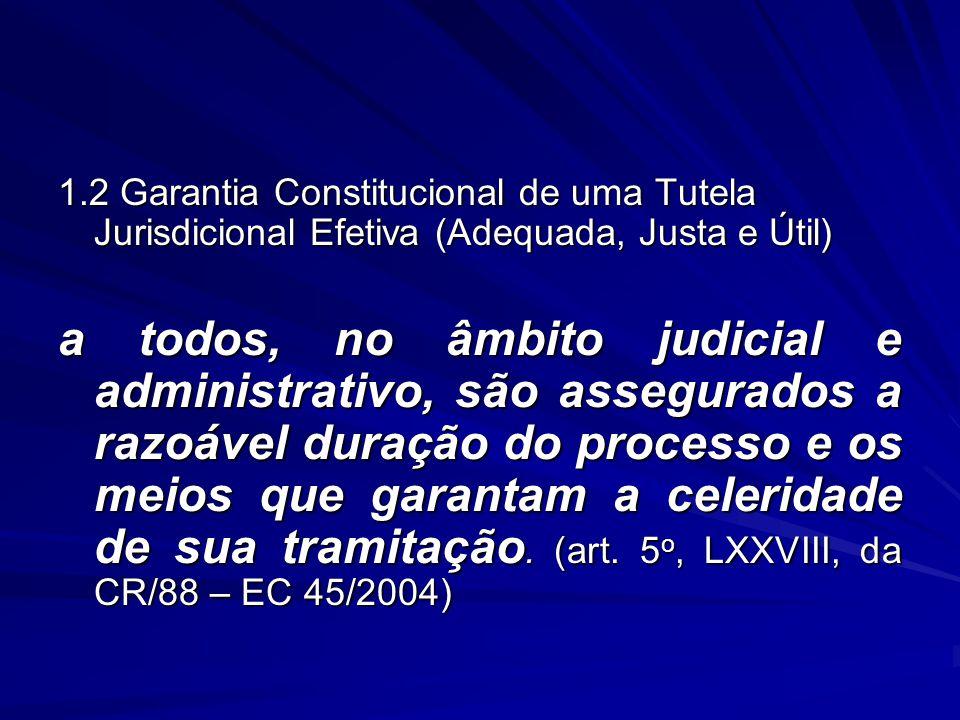 1.2 Garantia Constitucional de uma Tutela Jurisdicional Efetiva (Adequada, Justa e Útil) a todos, no âmbito judicial e administrativo, são assegurados