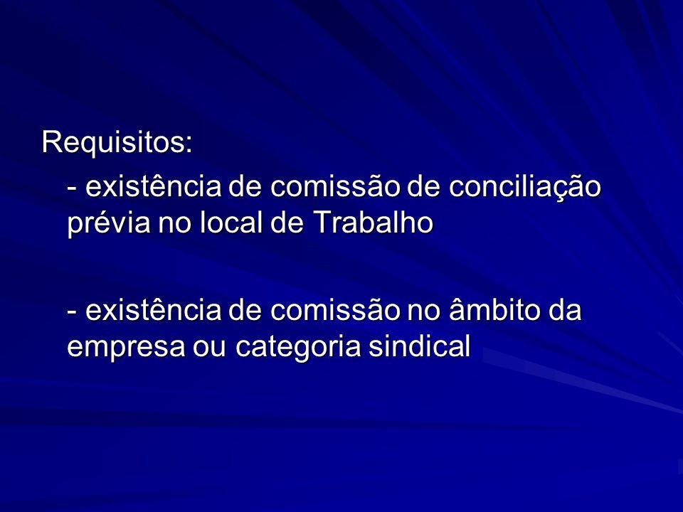 Requisitos: - existência de comissão de conciliação prévia no local de Trabalho - existência de comissão no âmbito da empresa ou categoria sindical