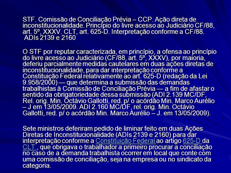 STF. Comissão de Conciliação Prévia – CCP. Ação direta de inconstitucionalidade. Princípio do livre acesso ao Judiciário CF/88, art. 5º, XXXV. CLT, ar