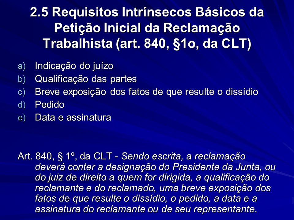 2.5 Requisitos Intrínsecos Básicos da Petição Inicial da Reclamação Trabalhista (art. 840, §1o, da CLT) a) Indicação do juízo b) Qualificação das part