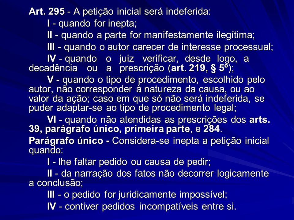 Art. 295 - A petição inicial será indeferida: I - quando for inepta; II - quando a parte for manifestamente ilegítima; III - quando o autor carecer de