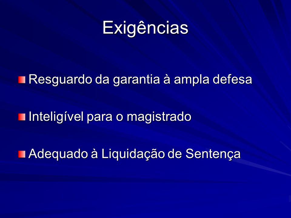 Exigências Resguardo da garantia à ampla defesa Inteligível para o magistrado Adequado à Liquidação de Sentença