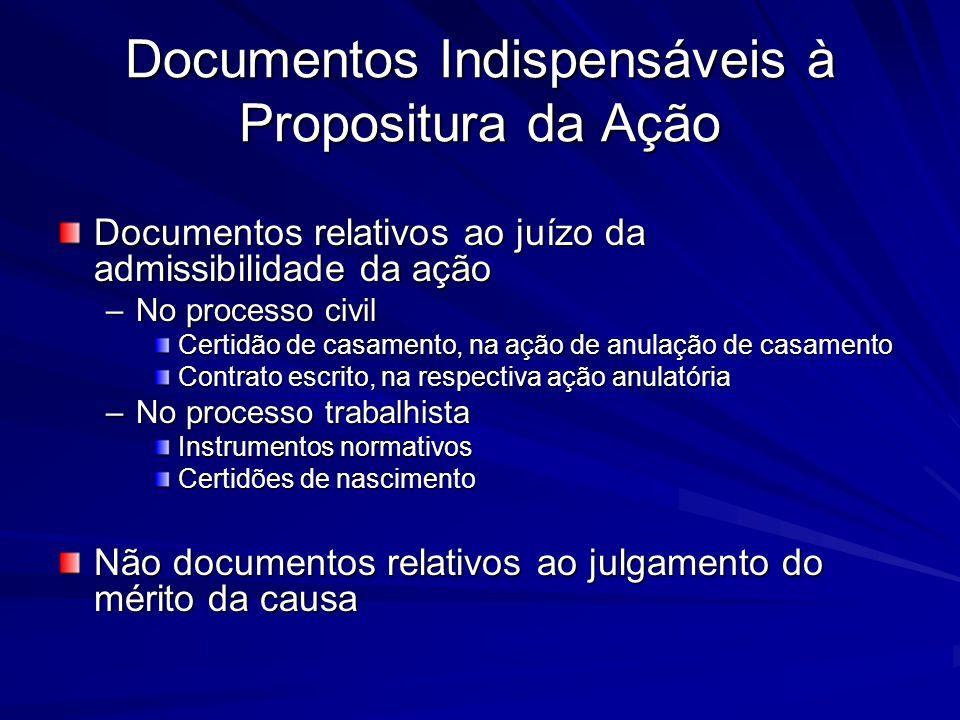 Documentos Indispensáveis à Propositura da Ação Documentos relativos ao juízo da admissibilidade da ação –No processo civil Certidão de casamento, na
