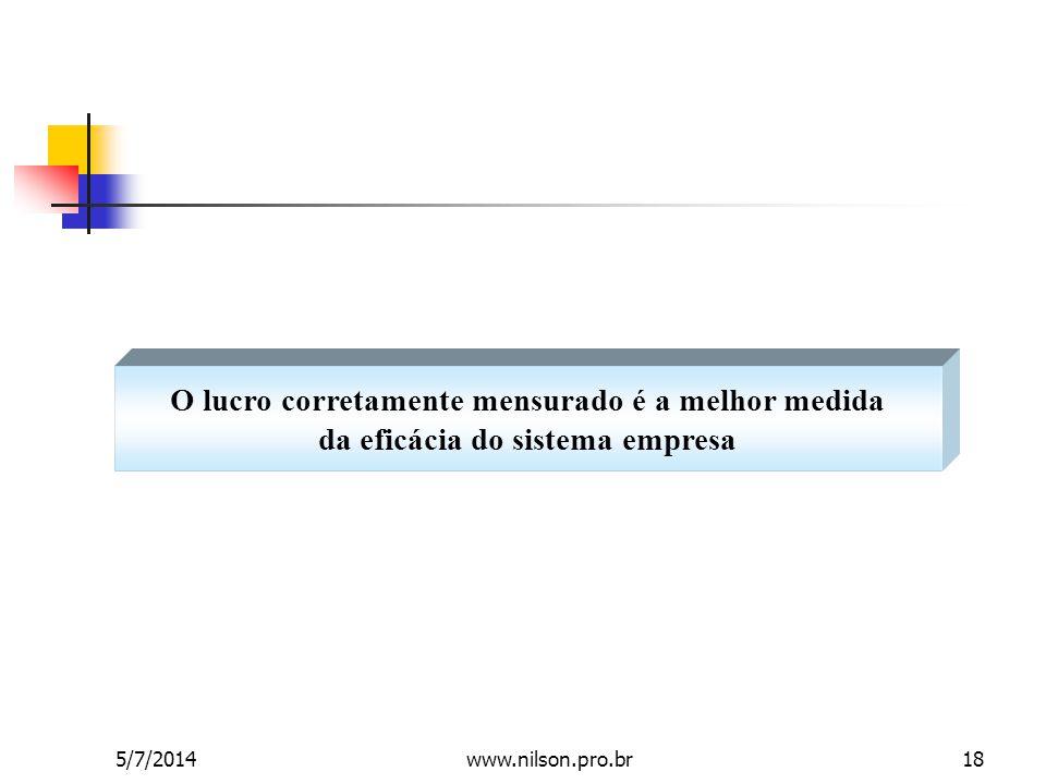 O lucro corretamente mensurado é a melhor medida da eficácia do sistema empresa 5/7/201418www.nilson.pro.br