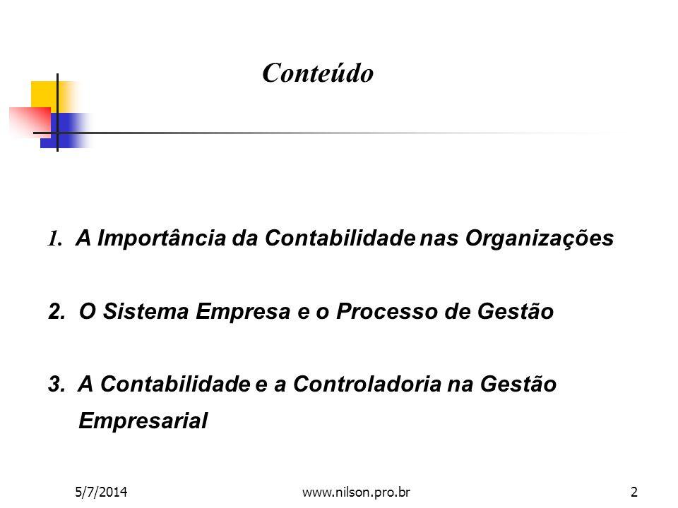 1. A Importância da Contabilidade nas Organizações 2. O Sistema Empresa e o Processo de Gestão 3. A Contabilidade e a Controladoria na Gestão Empresar