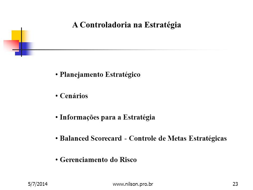 A Controladoria na Estratégia • Planejamento Estratégico • Cenários • Informações para a Estratégia • Balanced Scorecard - Controle de Metas Estratégi