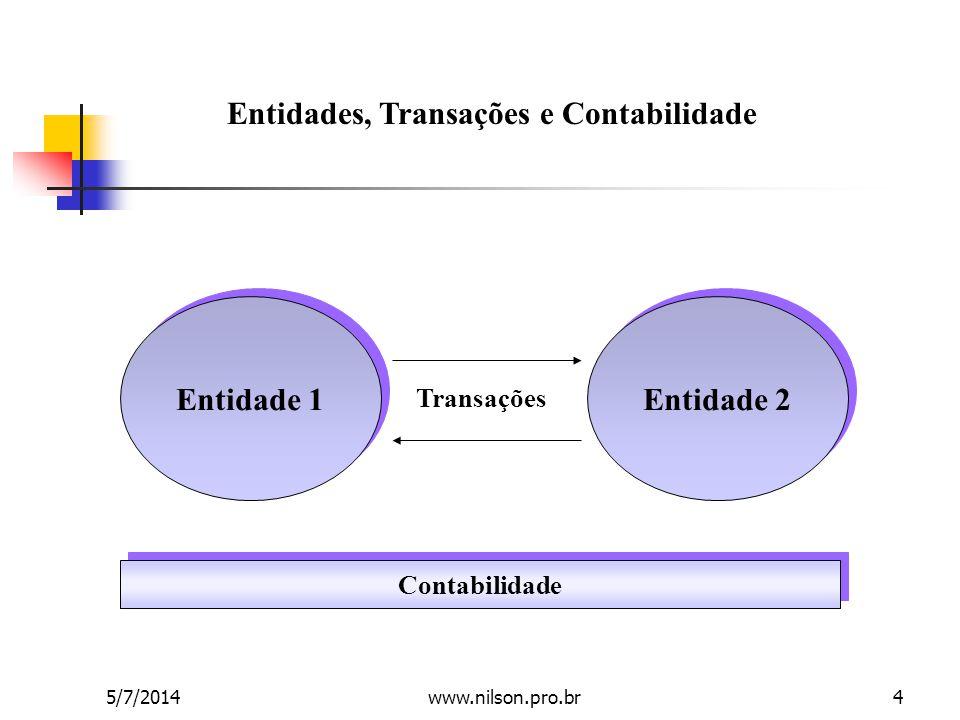 Entidades, Transações e Contabilidade Entidade 1 Entidade 2 Contabilidade Transações 5/7/20144www.nilson.pro.br