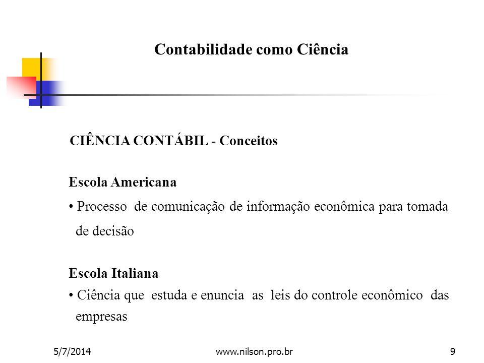 Escola Americana • Processo de comunicação de informação econômica para tomada de decisão CIÊNCIA CONTÁBIL - Conceitos Escola Italiana • Ciência que e