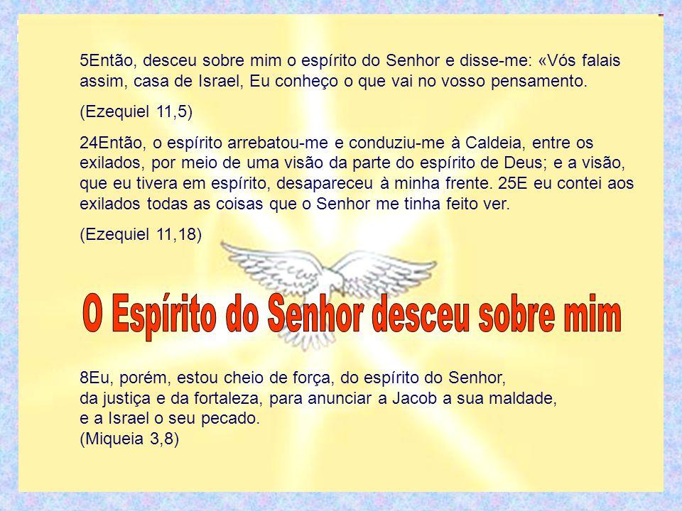 5Então, desceu sobre mim o espírito do Senhor e disse-me: «Vós falais assim, casa de Israel, Eu conheço o que vai no vosso pensamento.