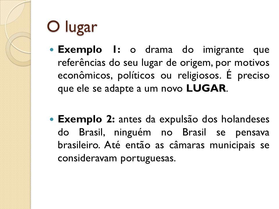 O lugar  Exemplo 1: o drama do imigrante que referências do seu lugar de origem, por motivos econômicos, políticos ou religiosos. É preciso que ele s