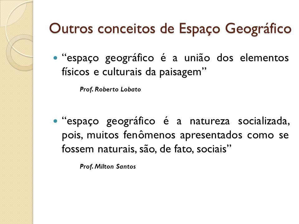 """Outros conceitos de Espaço Geográfico  """"espaço geográfico é a união dos elementos físicos e culturais da paisagem"""" Prof. Roberto Lobato  """"espaço geo"""