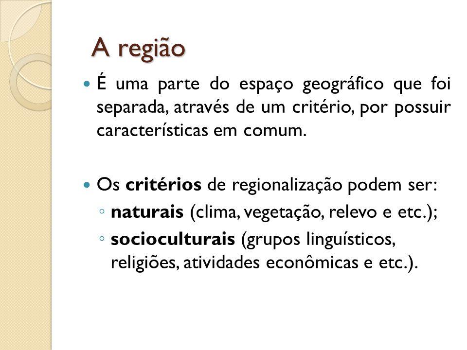 A região  É uma parte do espaço geográfico que foi separada, através de um critério, por possuir características em comum.  Os critérios de regional